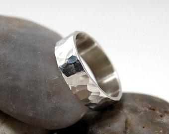 Hammered Sterling Silver Ring, Hammered Wedding Ring, Hammered silver band, Womans hammered wedding band, Mens hammered wedding band