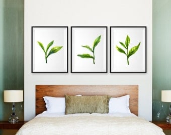 Set 3 green leaf watercolor painting Leaf bud Botanical illustration Green art print Minimalist dining room Green wall art Kitchen art