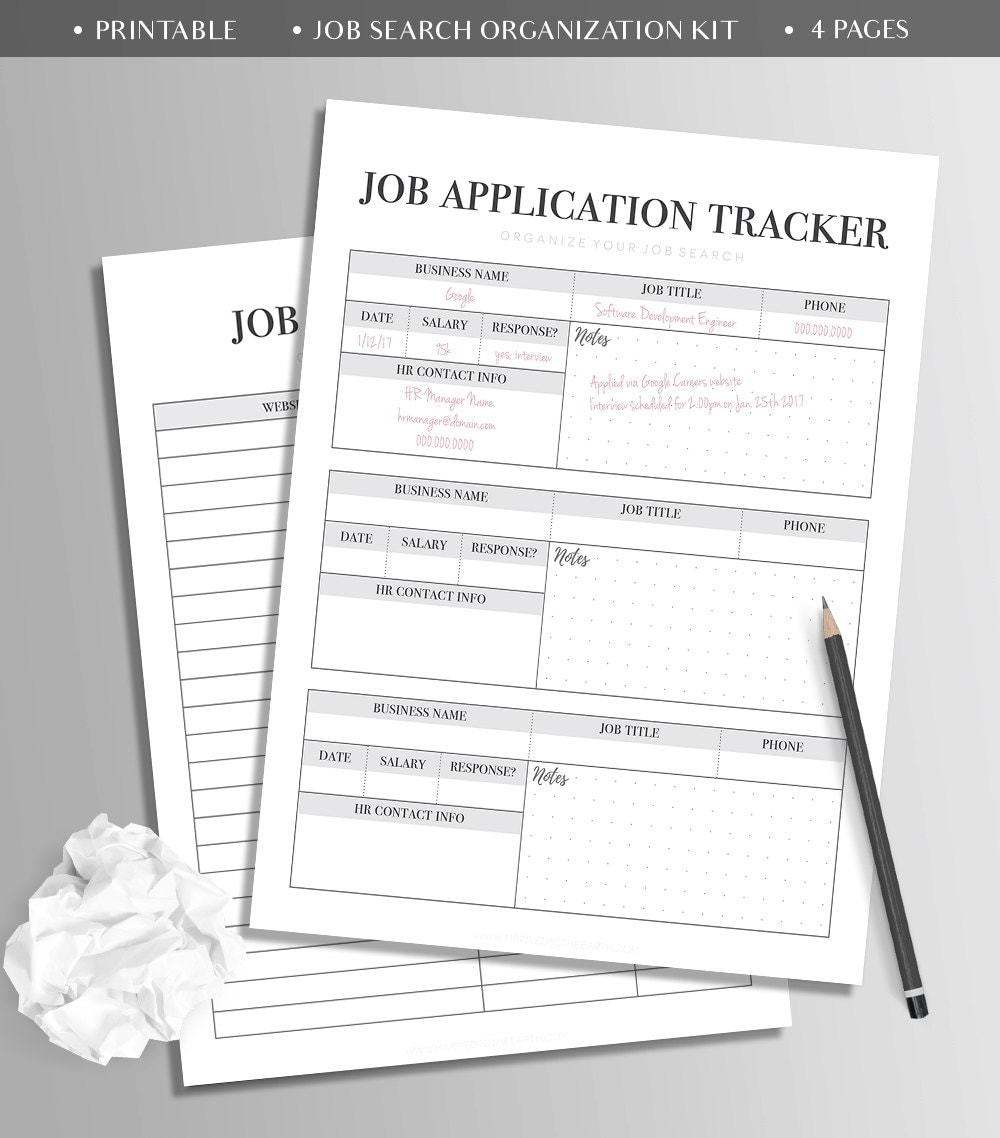 printable job search kit bullet journal template high 🔎zoom