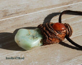 Chrysoprase Necklace with Carnelian Stone Clay Unisex pendant Natural Woodland Green Balance