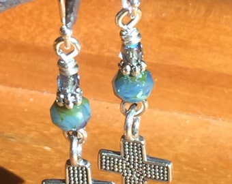 Small Cross Earrings - Sterling Silver with Swarovski Crystals - Sterling silver ear wires - Qty 1 pr