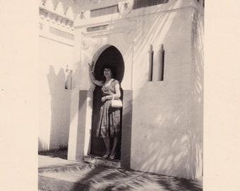 Pretty Lady Posing In Doorway - Palm Tree Shadows - Exotic - Tropical - Snapshot Photo