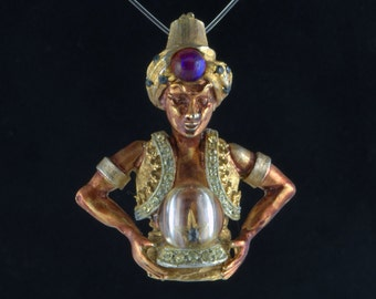 Har Genie Brooch Fortune Teller  With Crystal Ball Rare Collectible Pin