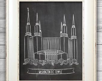 Washington D.C. Chalk Art Print, LDS Temple, LDS Art, Wall Decor, Illustration, Chalkboard