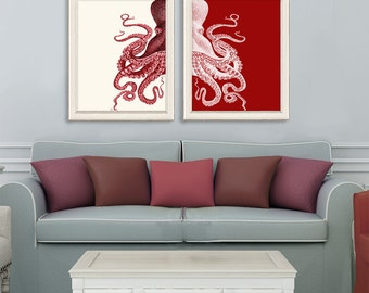 Red Octopus Prints Set 2, Nautical Print Beach Decor bathroom Decor Nautical Decor Wall Art Beach House Decor Octopus Picture