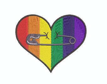 Safety Pins and Hearts with Safety Pins - Machine Embroidery Files