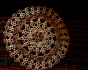 small round tan beige crochet doilie ~ handmade shimmery beige tan crochet doilie