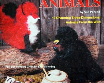 Woodland Animals 10 Charming 3D Animals From The Wild By Sue Penrod Needlework On Plastic Canvas Vintage Plastic Canvas Leaflet 1982