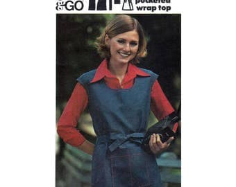 70's Sew & Go Patch Pocketed Wrap Top, Women'sSewing Pattern, Great as Smock or Apron Misses Size 10 Vintage 1970's Butterick 3541