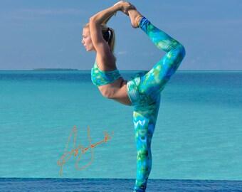 Womens Yoga Pants, Leggings, Stretch, Exercise Pant, Fold Over Straight Leg Tights, Gym Pants, Workout Pants, Turqoiuse, Tie Dye Leggings