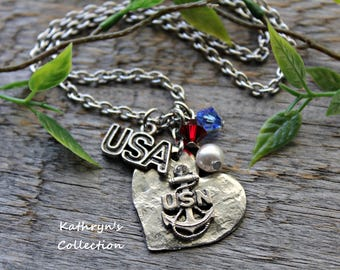US Navy Necklace, Navy Wife, Navy Mom, US Armed Forces, Military Mom