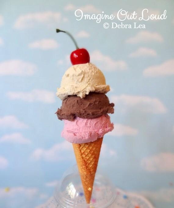 Fake Ice Cream Realistic Beautiful Gourmet Faux TRIPLE Scoop Cone Chocolate Vanilla Strawberry Food Photo Prop Gift Decor
