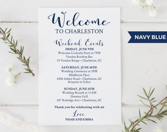 wedding welcome bag printable navy blue editable wedding itinerary template welcome bag letter