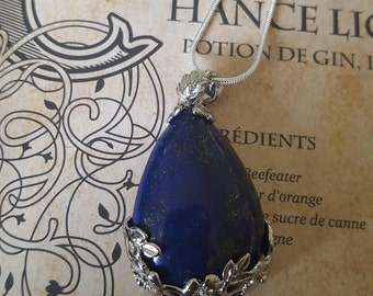 Necklace pendant lapis lazuli decoration flower nature sheet metal silver magical Celtic wicca protection