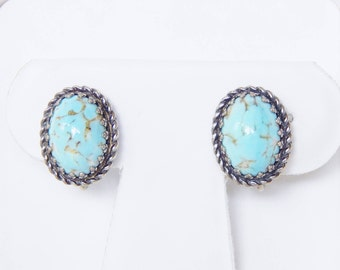 Danecraft Sterling Silver Screwback Earrings With Blue Oval Cabochons That Look Like Turquoise