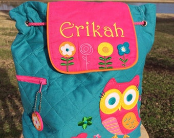 OWL Stephen Joseph  Quilted Backpack  ~ free personalization ~ Lake Martin Monograms