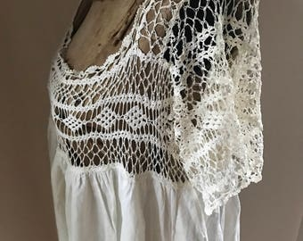 Edwardian Nightgown Slip Crochet  Camisole Handmade Rare Larger Size