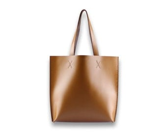 Smooth leather TOTE bag | #toxleather handmade tote | CARAMEL COLOR