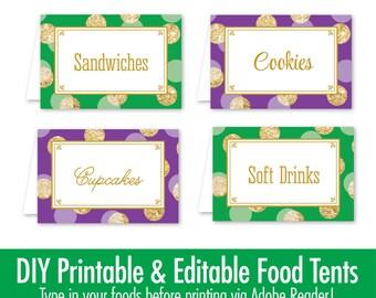 Mardi Gras Party Decorations - Printable Food Tents Editable Text Place Cards - Mardi Gras Decor, Mardi Gras Birthday Party Supplies