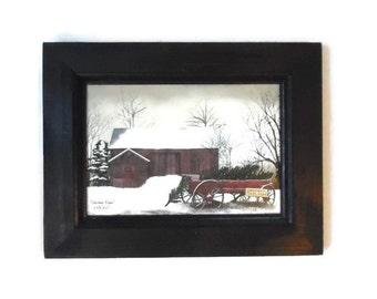 Christmas Wagon, Billy Jacobs, Framed Print, Wall Hanging, Christmas Decor, Home Decor, Handmade, 9x7, Custom Wood Frame, Made in the USA
