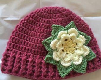 Fabric crochet girl Flower hat