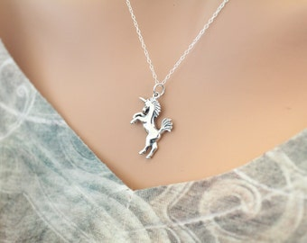 Sterling Silver Realistic Unicorn Charm Necklace, Unicorn Necklace, Unicorn Charm Necklace, Realistic Unicorn Necklace, Unicorn Pendant