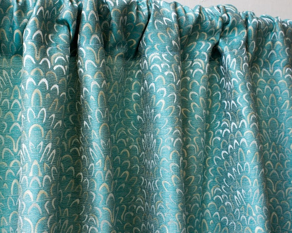 aqua blue waves window curtain panels geometric custom curtains 44
