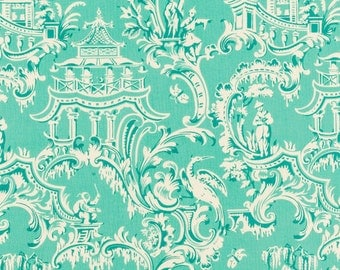 Turquoise Chinoiserie Fabric - 100% Cotton Craft, Quilting Apparel