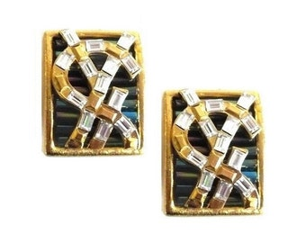 YVES SAINT LAURENT ~ Authentic Vintage Gold Plated Clip On Earrings -  Logo  ysl Rhinestones Clear Crystal Iridescent Glass Beads