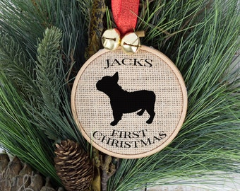 Tree Decorations Christmas Ornaments, Pet Gift, Personalized Dogs First Christmas, French Bulldog, Puppy's First Christmas, Dog Gift