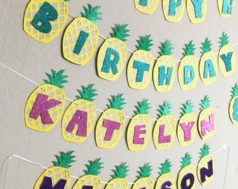 Luau Themed Banner - Pineapple Banner - Hawaiian Themed Banner - Baby Shower - Birthday - Custom Order Available - Multiple Colors Available