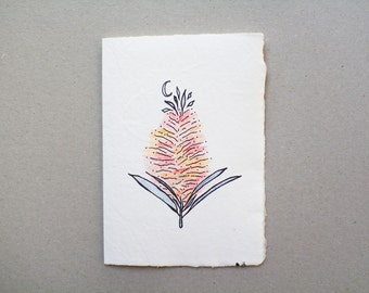 Card made from recycled handmade paper with Dreaming Flower by Cliffwatcher