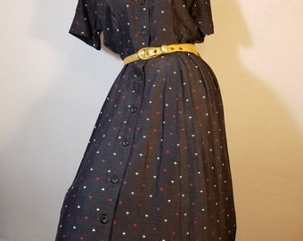 FREE  SHIPPING. 1940 Rayon Day Dress