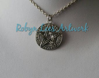 Silver Tetragrammaton Pentagram Necklace on Silver Crossed Chain or Black Faux Suede Cord. Gothic, Pagan, Wiccan, Costume