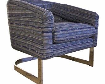Mid Century Modern Milo Baughman Flat Bar Chrome Round Tub Lounge Chair