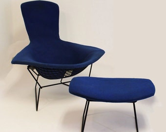 Mid Century Modern Harry Bertoia for Knoll Bird Chair and Ottoman Blue