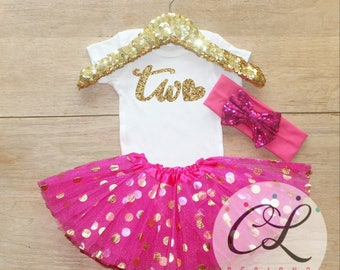 Second Birthday T-Shirt Outfit / Baby Girl Clothes 2 Year Old Tutu Outfit Two Birthday Set 2nd Birthday Girl Outfit Baby Tutu Bow Outfit 008