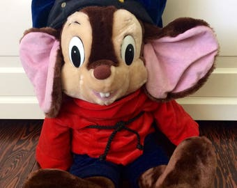 "1986 Fievel Mousekewitz American Tale 23"" Plush Doll, Vintage Fievel Plush, An American Tale, Vintage Sears Plush Mouse, Large Fievel Mouse"