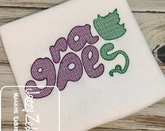 Grapes word and shape with motif filled embroidery design - Grapes embroidery design - fruit embroidery design