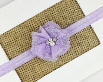 Lavender Flower Headband,Baby girl headband,Newborn girl Headband,Purple Headband,Toddler Gift, Baby Girl Gift, Lace Flower Girl Headband