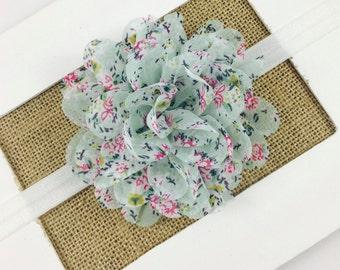 Vintage Flower Headband,Baby girl headband,Floral Print Headband,Newborn Headband,Vintage Flower Hair Clip,Chiffon Flower Headband,baby gift