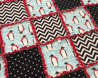 FREE SHIPPING Penguin Throw Size Rag Quilt, Black and White Throw Blanket, Penguin Bedding, Holiday Throw, Winter Quilt