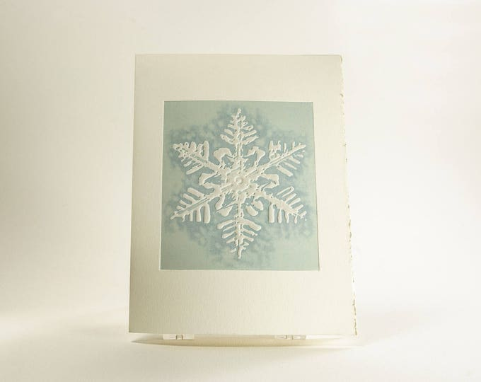 Snowflake card Letterpress Christmas card Modern holiday card Blue. Mont Blanc snowflake. Single card. Season's Greetings or Blank Inside.