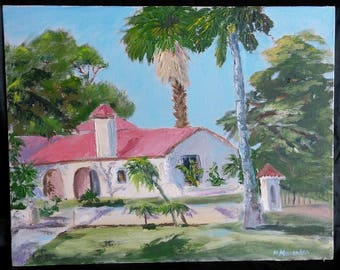 Vintage Florida Landscape Oil Painting Spanish Mission House Palm Tree Signed