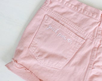 Size 31 | GIRL POWER Hand-stitched High Waisted Pink Shorts
