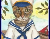 Sailor Ocelot Cat, Cute childlike big cat with sweet expression, toy boat, whimsical portrait, card/print, Cats, Drawing, Item #0529a