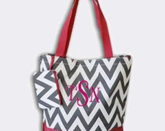 Grey and Fuchsia Chevron Canvas Tote Bag with Embroidery Personalization