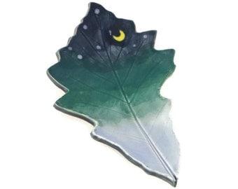Oak Leaf dish - pottery - night sky leaf - starry night - ring dish - spoon rest - fall leaf - decor - space decor - stargazer dish
