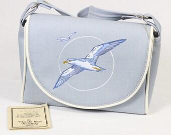 Vintage Seagull Florida Keys Handbag Purse Velcro Flap Closure Light Blue White