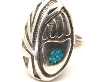 Vintage Sterling Silver Bear Paw Design Turquoise Inlay Ring Size 7.75